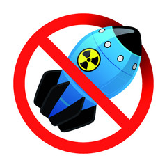 The prohibition of nuclear weapons. Prohibition sign with a bomb. No war. Illustration of  atomic bomb.