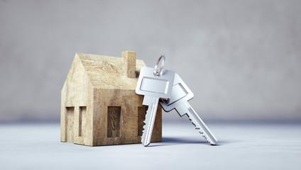 Bauklotz-Häuschen mit Schlüsseln