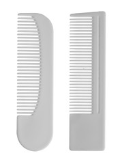 Two white comb isolated on white background