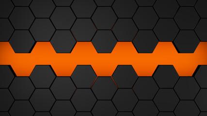 black and orange hexagons modern background illustration