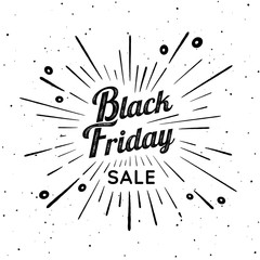 Black Friday vector vintage illustration. Sign with firework explosion. Stamp textured label with light rays and the percent sign. Black Friday ornament. Bursting star shape. Decoration element