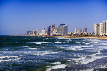 View of the embankment of Tel Aviv during the day. Israel.