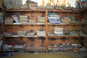 Book Cabinet of Old Magazines