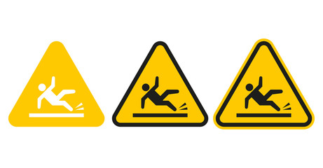 Set of wet floor signs. Vector