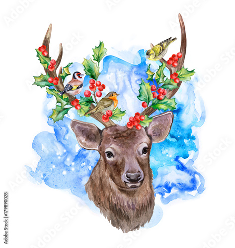 Cute Deer With Decorated Horns For Christmas Isolated On White Background Forest Birds