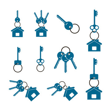 keys and keychain set on a white background
