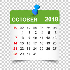 October 2018 calendar. Calendar sticker design template. Week starts on Sunday. Business vector illustration.