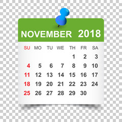 November 2018 calendar. Calendar sticker design template. Week starts on Sunday. Business vector illustration.