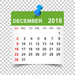 December 2018 calendar. Calendar sticker design template. Week starts on Sunday. Business vector illustration.