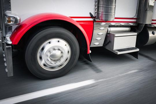 Close-up shot of 18 wheeler truck on highway