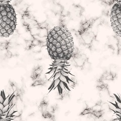 Vector marble texture seamless pattern design with pineapple, black and white marbling surface, modern luxurious background, vector illustration