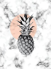 Vector marble texture design with pineapple, black and white marbling surface, modern luxurious background, vector illustration