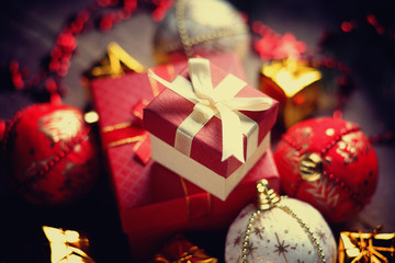 Christmas balls, gift boxes and bijouterie