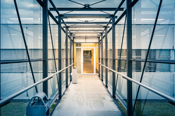 Architecture Metal Hallway Opportunity Building Looking Down Warm Light Blue Vignette Frame Glass