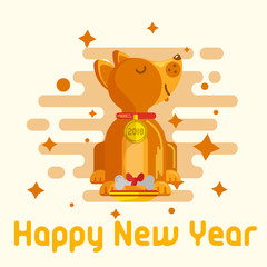 Design of the New Year's greeting card 2018 year of the dog in the style of flat. Vector illustration.
