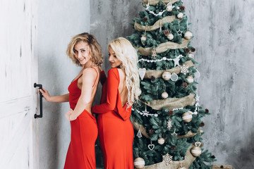 Beautiful smiling women. Makeup. Healthy long hair style. Elegant ladies in red dress over christmas tree lights background. Christmas and New Year concept