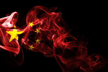 China flag smoke