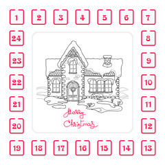 Christmas Advent calendar with house and  handwritten words