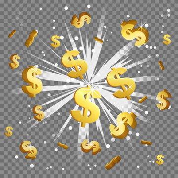 Golden dollar sign light beam lens flare explosion