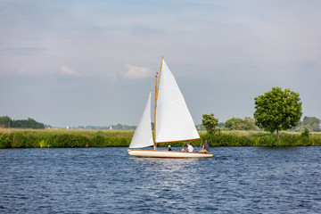 A sailboat on the lake 't Joppe in the Netherlands.