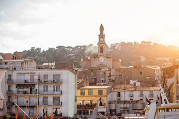 Sunset view in the buildings and church in Sete village in Occitanie region in southern France
