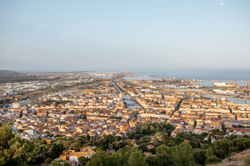 Aerial cityscape view on Sete village during the sunset in Occitanie region in southern France