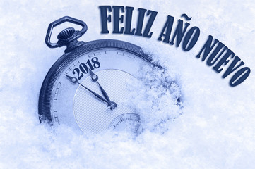 2018 greeting, Happy New Year in Spanish language, Feliz ano nuevo text