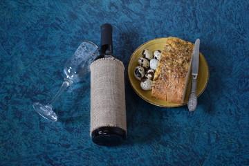 wine quail eggs and bread