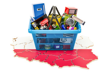 Poster Map of Poland with shopping basket full of home and kitchen appliances, 3D rendering