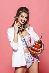 seductive lady with phone