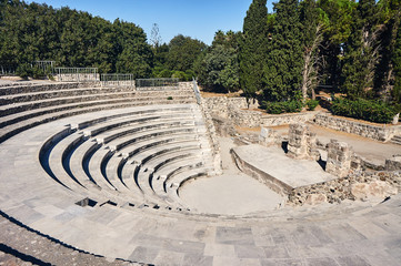 The ruins of the ancient theater in Kos in Greece.