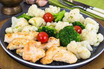 Cauliflower, broccoli, chicken fillet