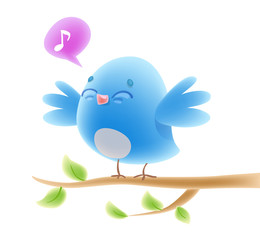 Cute cartoon singing bird