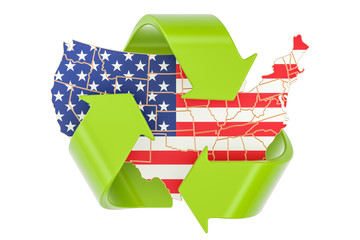Recycling in the United States concept, 3D rendering