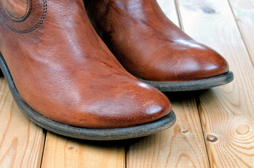 Pair of classic leather brown cowboy boots