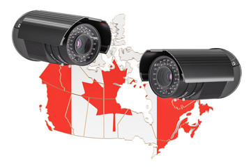 Surveillance and security system concept in Canada. 3D rendering