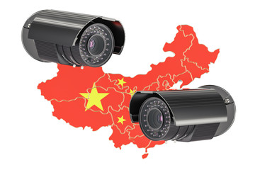Surveillance and security system concept in China. 3D rendering