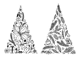Hand drawn vector illustration - Christmas tree with holiday elements composition (poinsettia, bow, bells, holly). Perfect for invitations, greeting cards, prints, flyers, posters etc