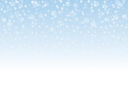 Christmas snow. Falling snowflakes on light background. Snowfall. Vector illustration, eps 10.