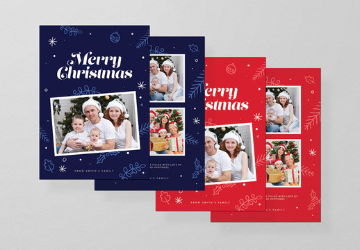 Christmas Photocard Layout in Red and Blue