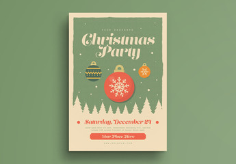 Retro Christmas Party Flyer with Trees and Ornaments