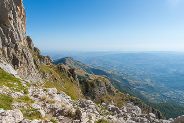View of Abruzzo region from the Gran Sasso mountain, part of the Apennine Mountains, in Italy