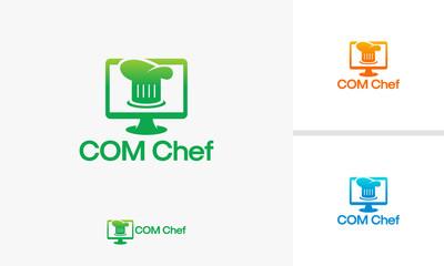 Computer Chef logo template, Computer Restaurant logo, Online Cooking logo designs vector