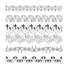 Collection floral seamless border. Decorative seamless doodle horizontal ornament set