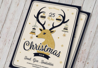 Christmas Event Flyer with Gold Glitter Reindeer