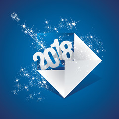 New Year 2018 your greeting email firework blue background