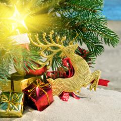 Christmas toys, reindear and christmas tree.