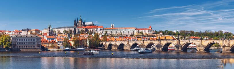 Prague panorama city skyline with Old Town, Prague Castle, Charles Bridge, St. Vitus Cathedral. Prague, Czech Republic