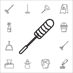 toilet brush icon. Set of cleaning tools icons