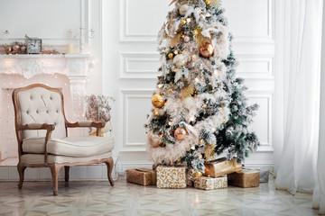 Classic white christmas interior